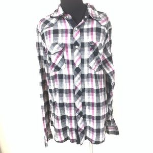 FOX RACING PINK BLACK PLAID PEARL SNAP TOP SIZE M